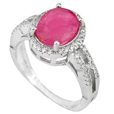 Natural red ruby topaz 925 sterling silver ring jewelry size 7.5 c17792