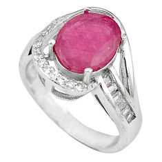 Natural red ruby topaz 925 sterling silver ring jewelry size 6.5 c17786