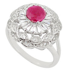 Natural red ruby topaz 925 sterling silver ring jewelry size 5.5 c17776