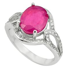 Natural red ruby topaz 925 sterling silver ring jewelry size 6.5 c17751
