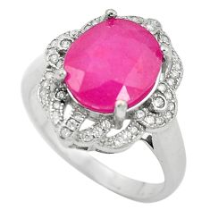 Natural red ruby topaz 925 sterling silver ring jewelry size 7.5 c17760