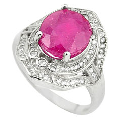 Natural red ruby topaz 925 sterling silver ring jewelry size 7.5 c17748