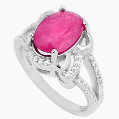 Natural red ruby topaz 925 sterling silver ring jewelry size 7 c17854