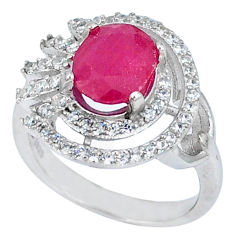 Natural red ruby topaz 925 sterling silver ring jewelry size 7 c17860