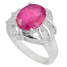 Natural red ruby topaz 925 sterling silver ring jewelry size 7 c17795