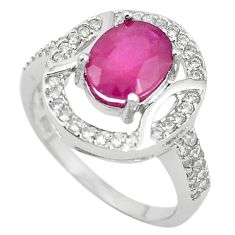 Natural red ruby topaz 925 sterling silver ring jewelry size 7 c17803