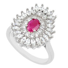 Natural red ruby topaz 925 sterling silver ring jewelry size 8 c17780