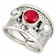4.69cts natural red ruby white pearl 925 silver ring jewelry size 8 r37923