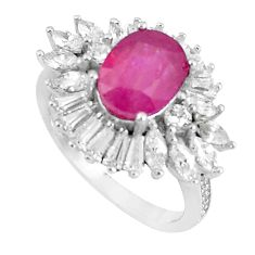 8.48cts natural red ruby white topaz 925 sterling silver ring size 6.5 c17809