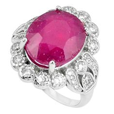 9.91cts natural red ruby white topaz 925 sterling silver ring size 7.5 c17669