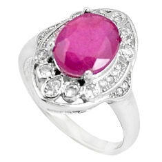 6.02cts natural red ruby white topaz 925 sterling silver ring size 6.5 c17858