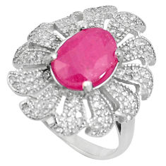7.13cts natural red ruby white topaz 925 sterling silver ring size 8.5 c17692