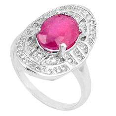 5.58cts natural red ruby white topaz 925 silver ring jewelry size 5.5 c17850