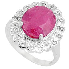 7.09cts natural red ruby white topaz 925 sterling silver ring size 6.5 c17753