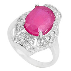7.07cts natural red ruby white topaz 925 sterling silver ring size 6.5 c17755