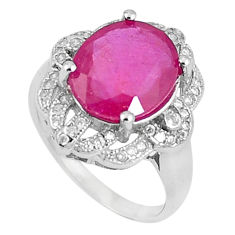 6.28cts natural red ruby white topaz 925 sterling silver ring size 6 c17855