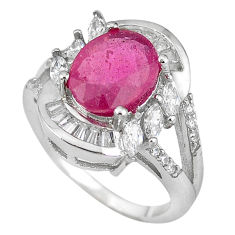 Natural red ruby white topaz 925 sterling silver ring jewelry size 6.5 c17773