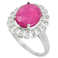 Natural red ruby white topaz 925 sterling silver ring jewelry size 8.5 c17859