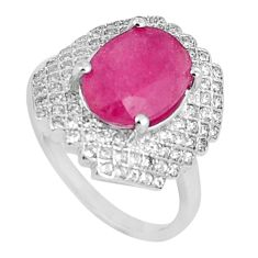 7.12cts natural red ruby white topaz 925 sterling silver ring size 8 c17677