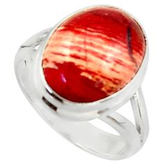 7.40cts natural red snakeskin jasper 925 silver solitaire ring size 7.5 d46503