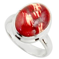 6.31cts natural red snakeskin jasper 925 silver solitaire ring size 7 d46501
