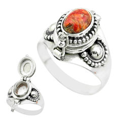 2.26cts natural red sponge coral 925 silver poison box ring size 8 t52772