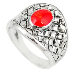Natural red sponge coral 925 sterling silver ring jewelry size 8 c12178