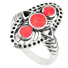 Natural red sponge coral enamel 925 sterling silver ring size 7 c22326