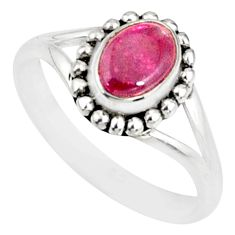 1.63cts natural red tourmaline 925 silver solitaire handmade ring size 7 r82161