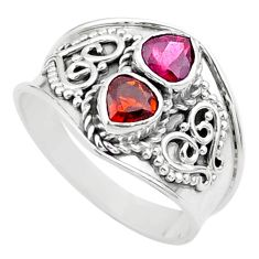 1.74cts natural red tourmaline 925 sterling silver ring jewelry size 8 t44865