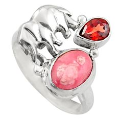 4.74cts natural rhodochrosite inca rose 925 silver elephant ring size 7 d46069