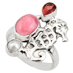 5.95cts natural rhodochrosite inca rose 925 silver seahorse ring size 8 d46021