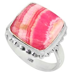 9.43cts natural rhodochrosite inca rose 925 silver solitaire ring size 7 r28009