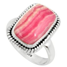 7.83cts natural rhodochrosite inca rose 925 silver solitaire ring size 7 r28026
