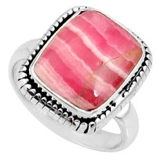 6.82cts natural rhodochrosite inca rose 925 silver solitaire ring size 7 r28031