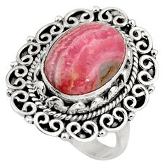 6.94cts natural rhodochrosite inca rose 925 silver solitaire ring size 8 d39064