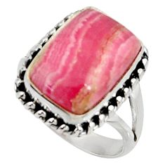 10.02cts natural rhodochrosite inca rose 925 silver solitaire ring size 8 r28012