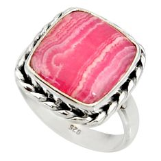 11.66cts natural rhodochrosite inca rose 925 silver solitaire ring size 8 r28037
