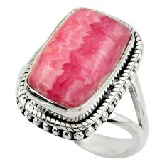 9.47cts natural rhodochrosite inca rose 925 silver solitaire ring size 8 r28801
