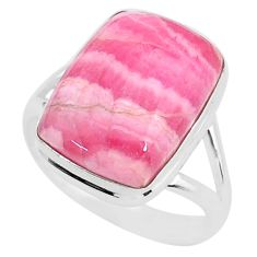 9.10cts natural rhodochrosite inca rose 925 silver solitaire ring size 8 t4228
