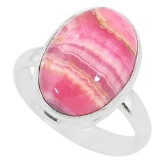10.01cts natural rhodochrosite inca rose 925 silver solitaire ring size 9 t4231