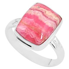 5.52cts natural rhodochrosite inca rose 925 silver solitaire ring size 9.5 t4237