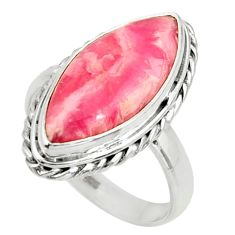 12.83cts natural rhodochrosite inca rose silver solitaire ring size 8.5 r28005