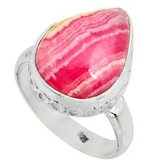 7.33cts natural rhodochrosite inca rose silver solitaire ring size 6.5 r28008