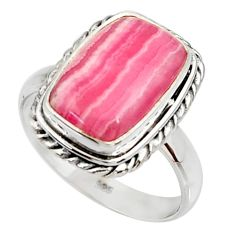 7.07cts natural rhodochrosite inca rose silver solitaire ring size 8.5 r28010