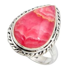 12.83cts natural rhodochrosite inca rose silver solitaire ring size 7.5 r28019
