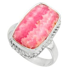 7.78cts natural rhodochrosite inca rose silver solitaire ring size 6.5 r28029