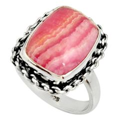 7.40cts natural rhodochrosite inca rose silver solitaire ring size 6.5 r28053