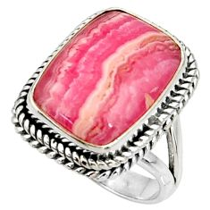 12.30cts natural rhodochrosite inca rose silver solitaire ring size 6.5 r28059