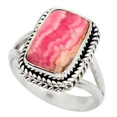 6.79cts natural rhodochrosite inca rose silver solitaire ring size 8.5 r28762